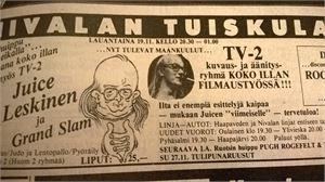 Keskipohjanmaa-lehdessä oli tällainen ilmoitus Juicen keikasta Tuiskulassa marraskuussa 1983.