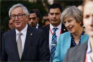 Juncker on jo kolmas EU-johtaja, joka saapuu Mayn puheille. LEHTIKUVA/AFP