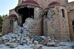 Maanjäristys romahdutti myös rakennuksia Kosin saarella Egeanmerellä. LEHTIKUVA/AFP