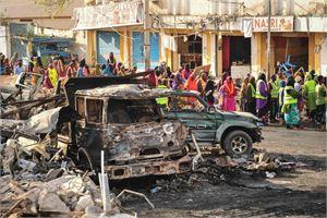 Eilinen pommi-isku sattui vilkkaalla alueella hotellin läheisyydessä. LEHTIKUVA/AFP