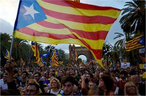 Katalonia järjesti pari viikkoa sitten kansanäänestyksen, jossa valtaosa kannatti alueen itsenäisyyttä. LEHTIKUVA/AFP