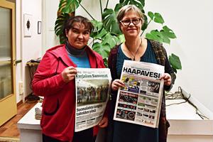 Karajalan Sanomia ja Haapavesi-lehteä tehdään hyvin erilaisissa toimintaympäristöissä, totesivat uutistoimittaja Marina Tolstyh ja päätoimittaja Katariina Anttila.