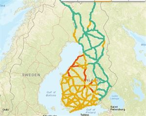 Liikenneviraston teettämä kartta ennustaa, että kello 16 ajokeli on huono erityisesti Länsi- ja Keski-Suomessa. Myöhemmin olosuhteet heikkenevät myös Pohjois-Suomessa.