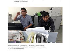 Reutersin toimittajat Wa Lone ja Kyaw Soe Oo kuvattiin tämän viikon maanantaina työpisteellään Burman Yangonissa. Nyt heidät on pidätetty.