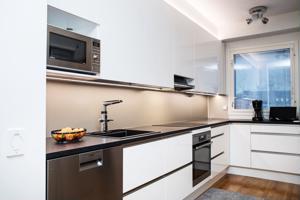 Markku ja Sari Keinonen asennuttivat juuri joulukuussa tilaamansa keittiön kotiinsa. Välitilassa on sampanjan värinen komposiittilevy.