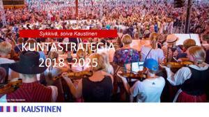 """Perussuomalaiset halusivat strategian kanteen ilmakuvan Kaustisen kuntakeskustasta kansanmusiikkijuhlien tilalle. """"Sykkivä, soiva Kaustinen"""" vaihdettiin tuttuun """"Kaustinen on sinun""""-sloganiin."""