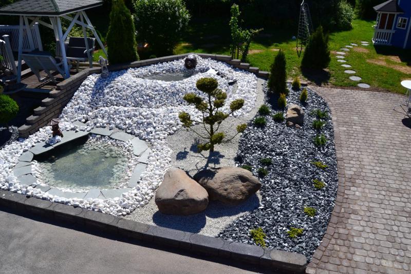 Kaunis kivipiha nostaa kiinteistön arvoa. Pihaan tulisi budjetoida noin 10 prosenttia uudisrakennuksen arvosta.