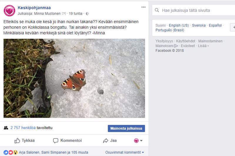 Viikonlopun perhospäivitys innosti Keskipohjanmaan lukijoita kertomaan omista keväthavainnoistaan Facebookissa.