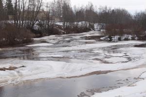 Kalajoen sivuhaarassa Vääräjoessa Rautiossa jäät ovat jo osittain liikkeellä ja virtaamat ovat nousussa.