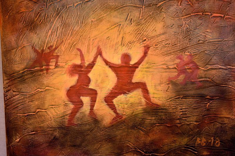 Kata Bondsin uusi musiikki innoitti Bengt Björkin maalaamaan luolamiestyyliin.