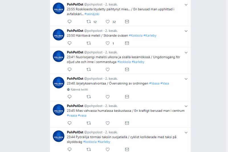 Pohjanmaan poliisin hälytystehtäviä Twitterissä koulujen päättäjäislauantailta.