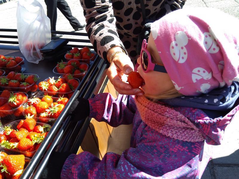 Nuori neito Alina maistoi kesän ensimmäistä kotimaista mansikkaa.