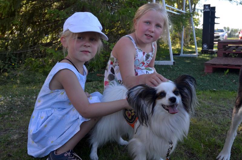 Jenna (vas.) ja Milla Myllykoski pääsivät rapsuttelemaan Papillon-rotuista Juhlaa. Juhla toimii kaverikoirana ja harrastaa omistajansa Emilia Leppälän kanssa tottelevaisuuskoulutusta.