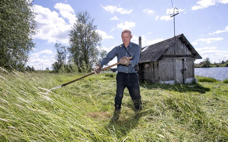 Karjalaismökit ovat nykyisin kesäasuntoja. Sijoitusneuvoja Vladimir käy auttamassa isäänsä mökin hoidossa Petroskoin liepeilllä.