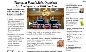 Tältä näyttää The New York Timesin verkkoetusivu tiistaiaamuna Suomen aikaa.