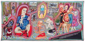 The Adoration of the Cage Fighters, 2012. Villa, puuvilla, akryyli, polyesteri, silkki. 200x400 cm.