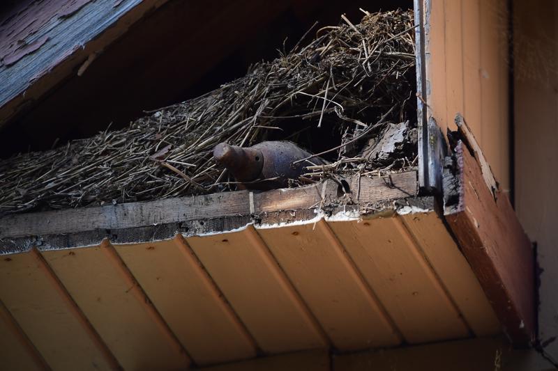 Vanhan näköinen kranaatti löytyi Kälviäläisen talon päädystä räystäskotelon sisältä.