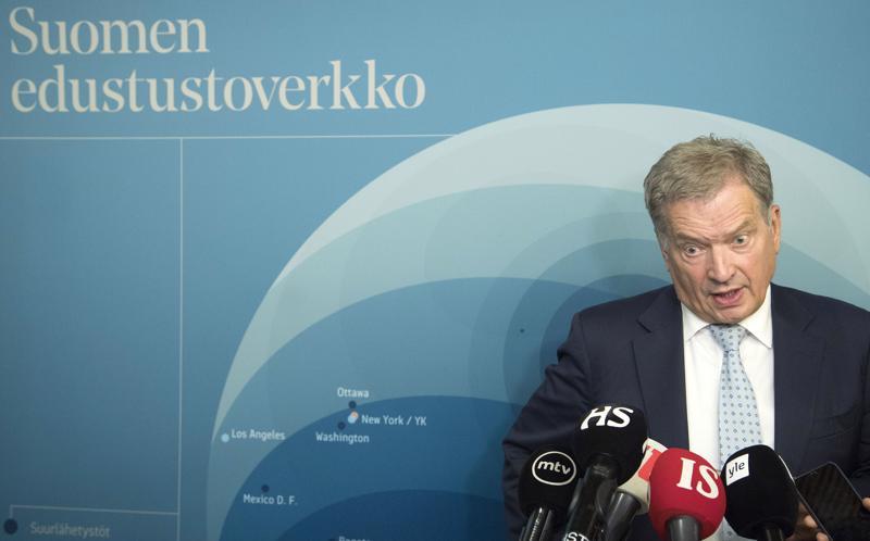 Presidentti Sauli Niinistö aikoo matkustaa Marokkoon YK-kokoukseen joulukuussa. Kuvassa Niinistö suurlähettiläspäivillä elokuussa Helsingissä.