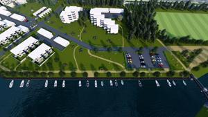 Havainnekuvassa näkyvät korkeutta kasvaneet kerrostalot Ristikarin rannassa.