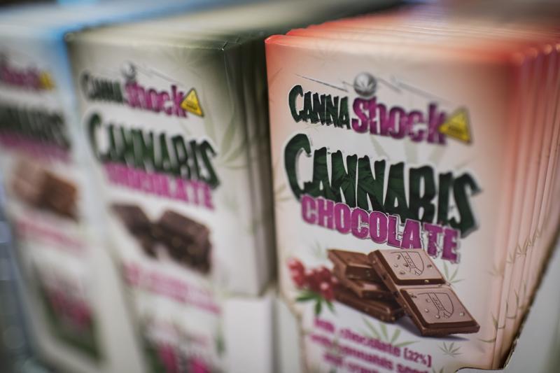 Kannabiksella maustettua suklaata oli esillä Kööpenhaminassa syyskuun alussa pidetyn ensimmäisen kannabiskokouksen yhteydessä järjestetyssä näyttelyssä.
