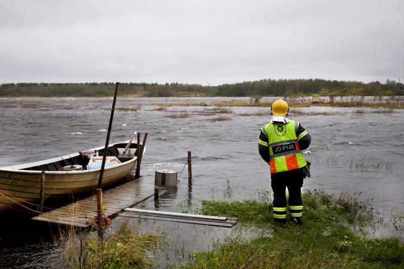Paloesimies Joose Veteläinen tarkastelee veden saartaman lammaslauman tilannetta rannasta käsin.