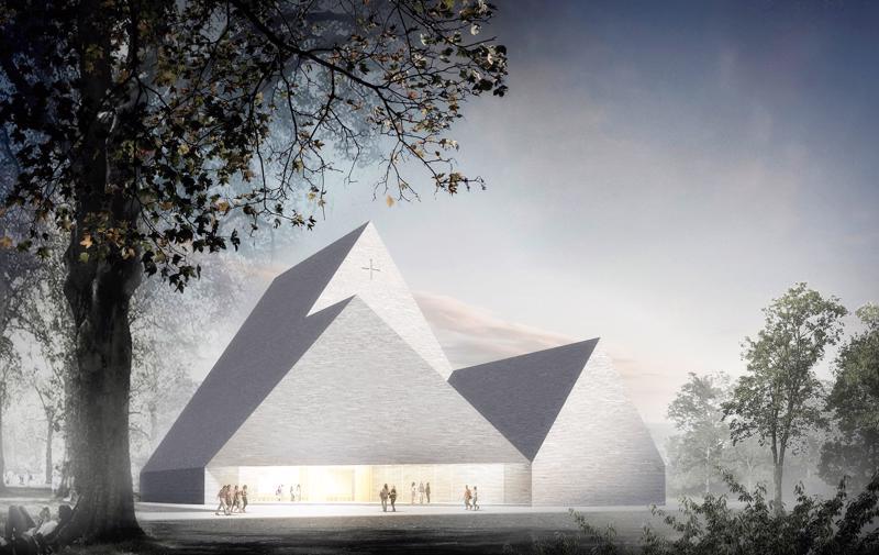 Ylivieskaan rakennettava uusi kirkko on Arkkitehtitoimisto K2S Oy:n suunnittelema Trinitas.