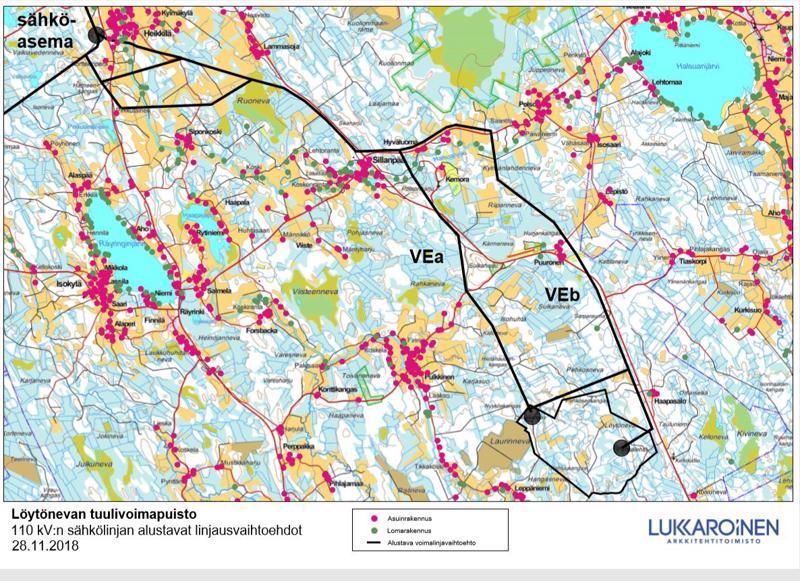 Löytönevan tuulivoimapuisto 110 kV:n sähkölinjan alustavat linjausvaihtoehdot.