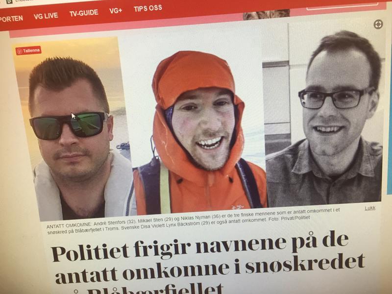 Norjalaislehti Verdens Gang julkaisi hiihtoturman uhrien kuvat.