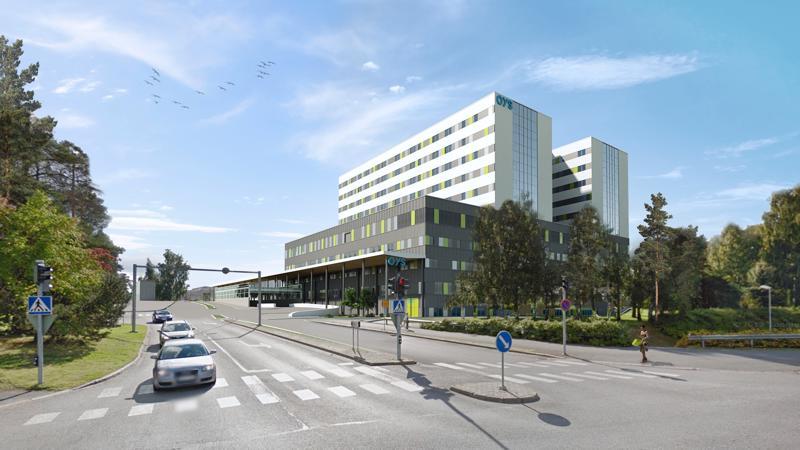 Havainnekuva Oulun uudesta sairaalasta.