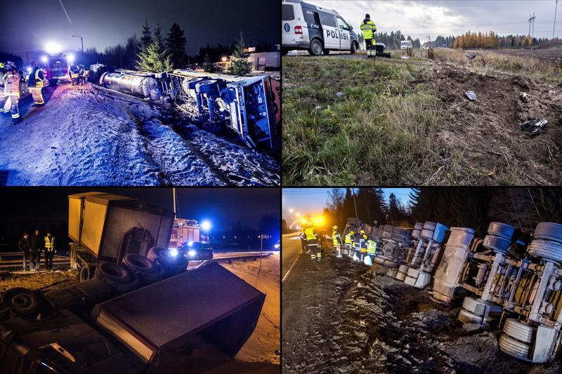Tila-auto ja säiliöauto kolaroivat Kälviällä joulukuussa (ylhäällä vasemmalla). Kalajoella sattui kuolonkolari lokakuussa, Peitsontien risteyksessä Kälviällä tämän vuoden tammikuussa. Oikealla alhaalla metalliromua kuljettanut rekka ojassa Kruunupyyn Hopsalassa marraskuussa.
