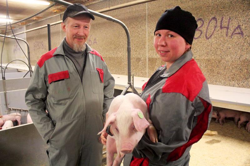 Hannu Kyllönen ja Angelina Bentley kertovat, että pyöreä korvamerkki on merkki siitä, että possu on antibioottivapaa. Merkki seuraa possua läpi elämän.