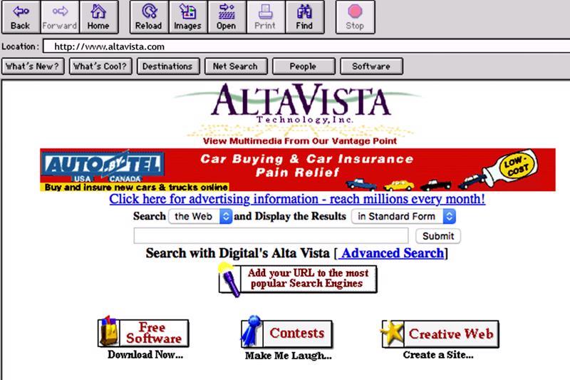 AltaVista oli internetin alkuaikojen ykköshakukone.