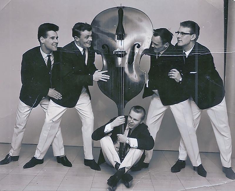 Olle Kosken Kvintetti vuonna 1957: Eero Kiviaho, Taisto Polso, Jorma Mäntykorpi, Olle Koski ja Seppo Peltonen.