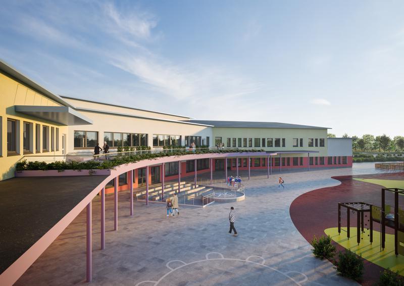 Taanilan uuden yhtenäiskoulun sisäänkäyntipuolen julkisivusta tulee kaareva.