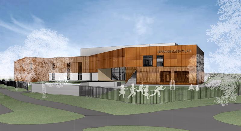 Tässä vaiheessa suunnittelua koulun väritys muistuttaa aiemmin tontilla sijainnutta BI:n rakennusta.