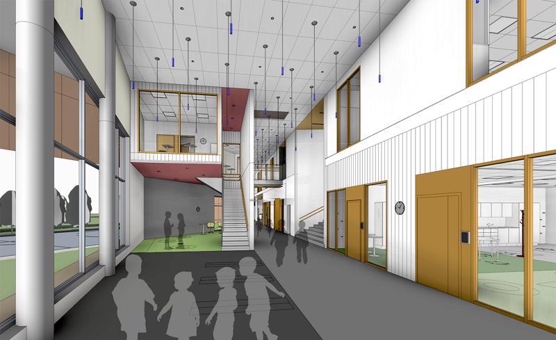 Pietarsaaren uuteen Kielikylpykouluun on tulossa valoa ja ilmavuutta.