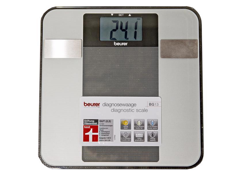 Saksalaisen Beurerin vaaoista halvempi, 25 euron hintainen BG13 antoi merkittävästi muita mittareita pienemmän rasvaprosentin. Se ei mittaa luumassaa tai sisäelinrasvaa.