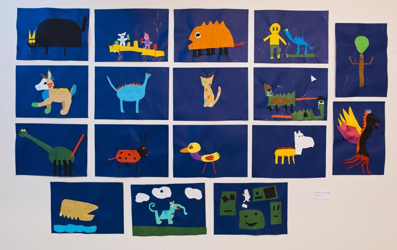 5-6 -luokkalaisten paperileiketyö mielikuvituseläimistä.