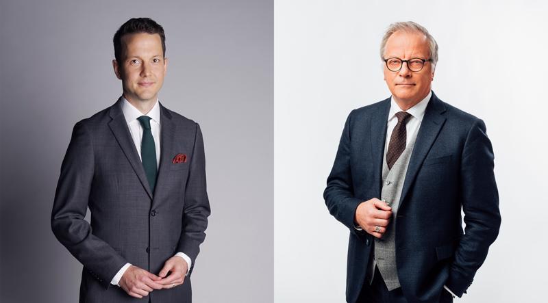 Jaakko Loikkanen (vasemmalla) on toinen MTV3:n tulosillan juontajista. Matti Rönkä on samassa työssä Ylen TV1:n puolella. Kumpikaan ei vedä lähetystä yksin. Loikkasen kumppanina on Kirsi Alm-Siira ja Röngän Piia Pasanen.