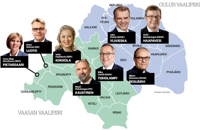 Näin tulevat kahdeksan kansanedustajaa sijoittuvat Keskipohjanmaan levikkialueelle.