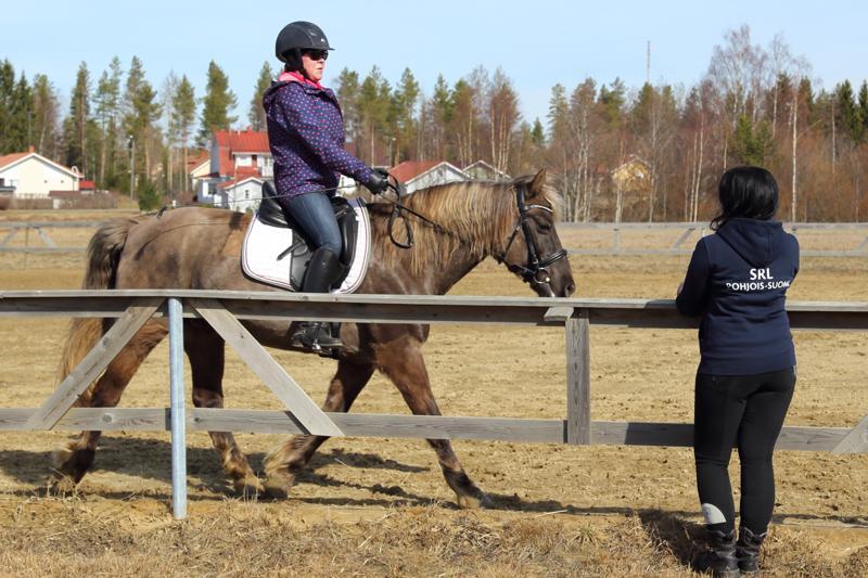 Anna-Maija Sarpola ja Raffe iloitsevat ulkokentän kuivumisesta. Tiina Heikkilä kertoo, että ulkotarhojen ja kentän rakentaminen on vaatinut lukuisia talkootyötunteja.
