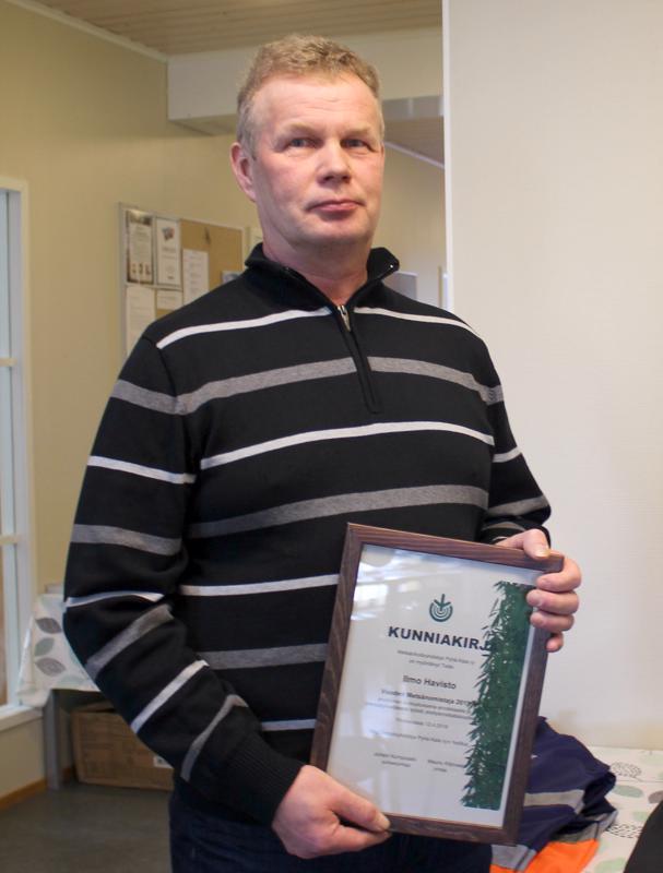 Ilmo Havisto on Metsänhoitoyhdistys Pyhä-Kalan toimialueen Vuoden Metsänomistaja 2019.