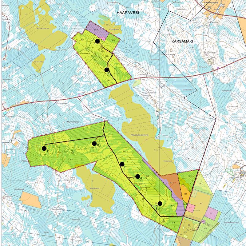 Hankilannevan tuulipuisto sijoittuu Karsikkaan kylän ja Kärsämäen välille kahden puolen Kokkola-Kajaani-tietä. Seitsemän tuulivoimalan paikat ovat kartassa mustina pisteinä.