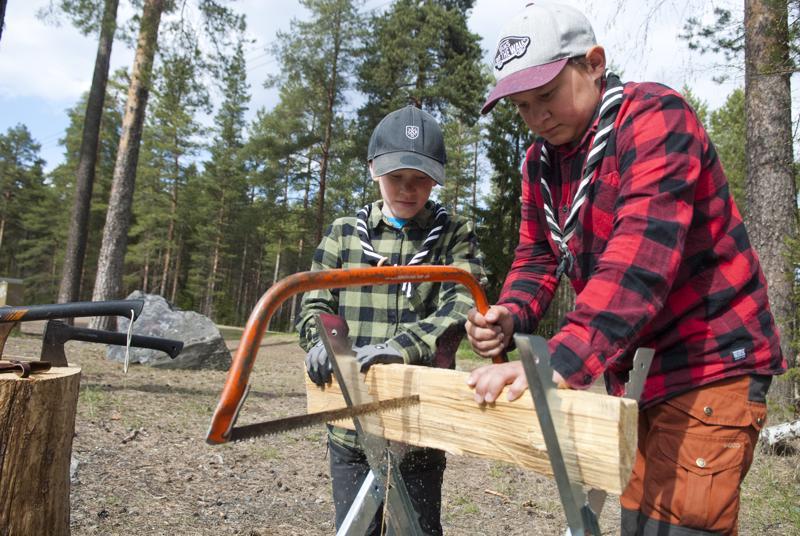 Partiolaiset Aatu ja Eemeli Heikkilä osaavat nuotiopuiden teon taidon.