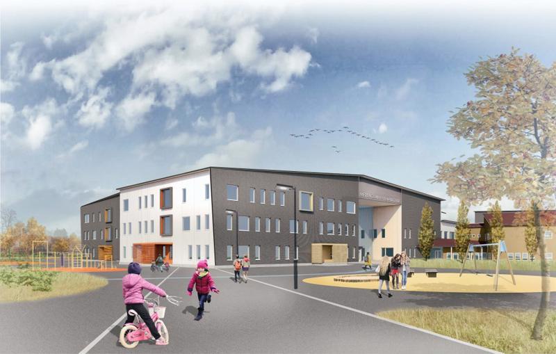 """Merenojan yhtenäiskoulun uudisosa koostuu kolmesta rakennusmassasta; nopasta, joita yhdistää """"keskustori"""" Plassi."""