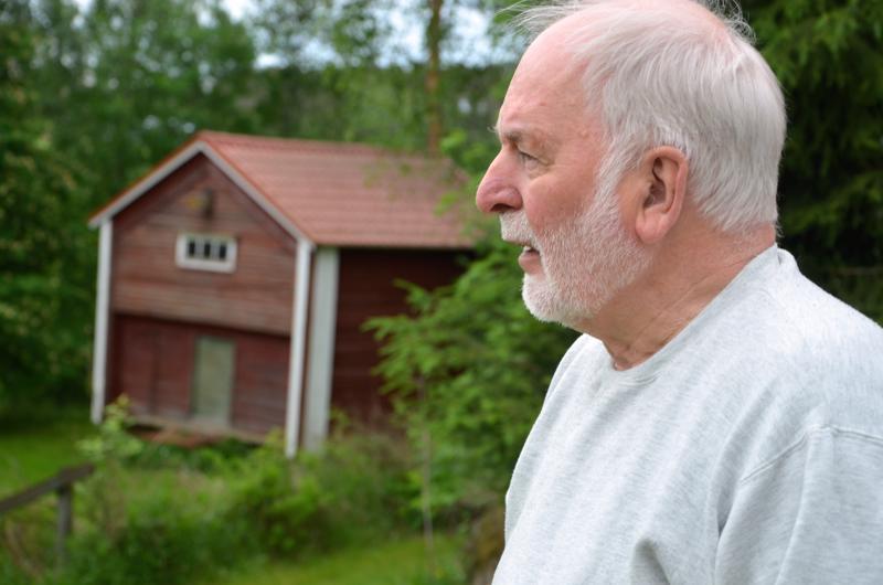 Into Pollari nauttii erityisesti lintujen seuraamisesta omalla pihallaan. Takana olevan ladon ikkunan yläpuolella näkyy myös entinen oravan pesä.