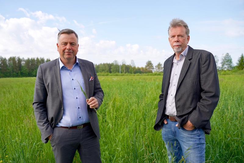 Pedersören kunnanjohtaja Stefan Svenfors (vas.) ja kunnan konserniyhtiön toimitusjohtaja Kjell Gripenberg sekä heinäpelto, joka tulee tuottamaan pääasiallisen raaka-aineen Kolppiin rakennettavalle biokaaasulaitokselle.