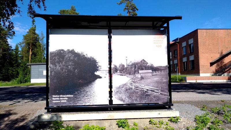 Uimahallin edessä olevan katoksen seinässä on kuva vuodelta 1895, jolloin Suntin varrella sijaitsi viinapolttimo.