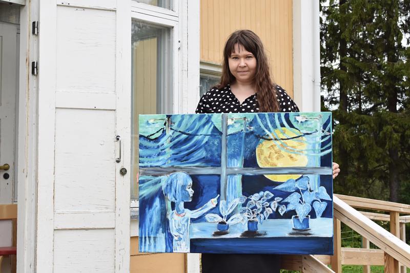Anna Penttilän maalaamat teokset ovat myynnissä, mutta kyseinen maalaus ei. Teos kantaa nimeä Ensimmäinen muisto.