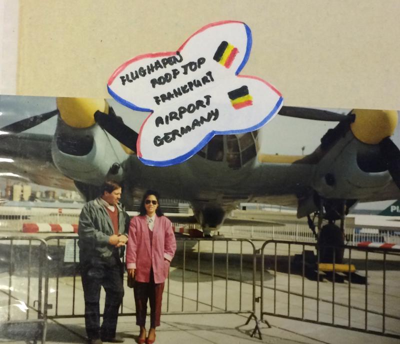 Tauno ja vaimonsa Teresita Frankfurtin lentokentällä.